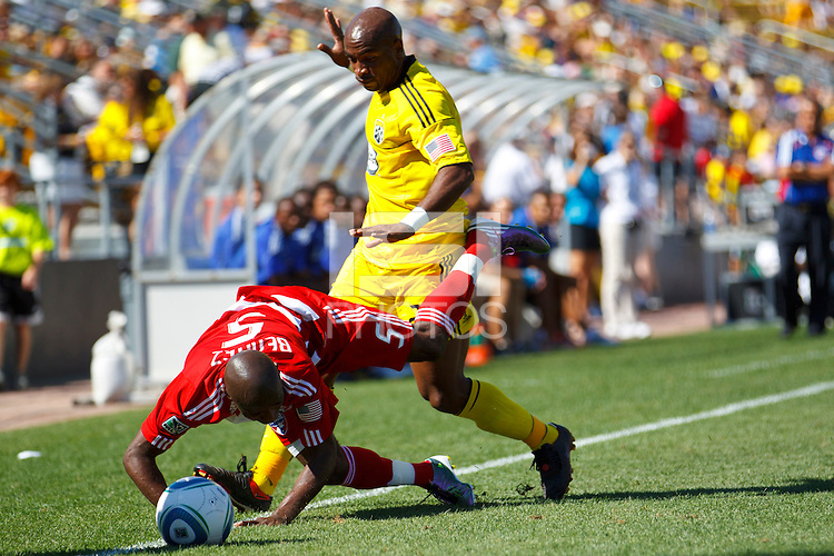 28 AUGUST 2010:  FC Dallas' Jair Benitez (5) and Emilio Renteria of the Columbus Crew (20) during MLS soccer game between FC Dallas vs Columbus Crew at Crew Stadium in Columbus, Ohio on August 28, 2010.