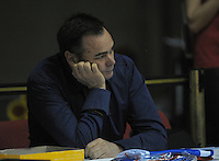 Saints owner Nick Mills watches the national basketball league match between Wellington Saints and Taranaki Mountainairs at TSB Bank Arena, Wellington, New Zealand on Friday, 17 June 2014. Photo: Dave Lintott / lintottphoto.co.nz