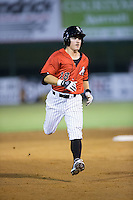 Bradley Strong (18) of the Kannapolis Intimidators rounds the bases after hitting a solo home run against the Hagerstown Suns at Kannapolis Intimidators Stadium on July 4, 2016 in Kannapolis, North Carolina.  The Intimidators defeated the Suns 8-2.  (Brian Westerholt/Four Seam Images)