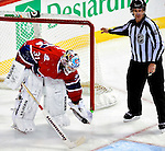 31 March 2010: Montreal Canadiens' goaltender Carey Price holds the puck after the net was dislodged from its moorings during second period action against the Carolina Hurricanes at the Bell Centre in Montreal, Quebec, Canada. The Hurricanes defeated the Canadiens 2-1. Mandatory Credit: Ed Wolfstein Photo