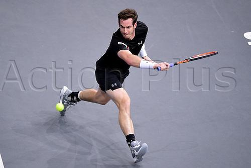06.11.2015. Paris, France BNP Paribas Master Tennis, Bercy. Semi-finals match between Andy Murray( GBR) and david Ferrrer. Murray returns.