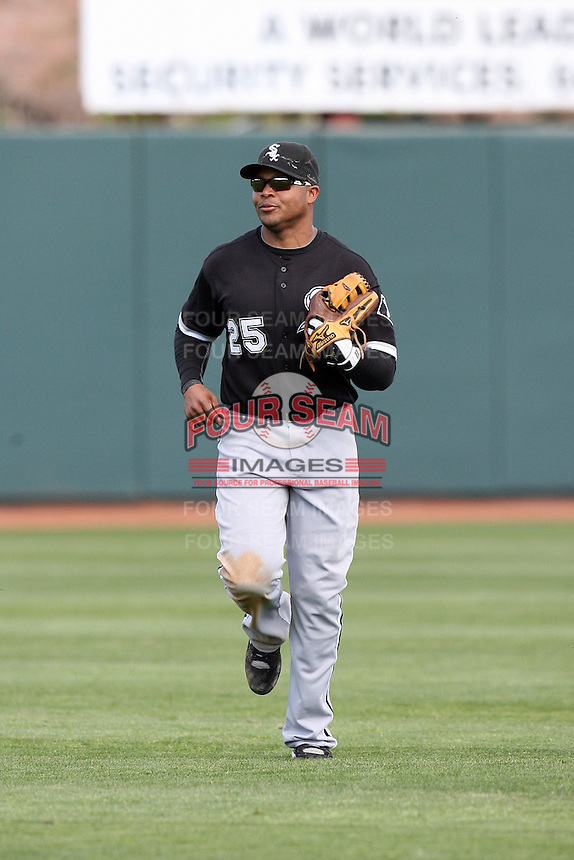 Andruw Jones. Chicago White Sox spring training game vs. Oakland Athletics at Phoenix Municipal Stadium, Phoenix, AZ - 03/10/2010.Photo by:  Bill Mitchell/Four Seam Images.