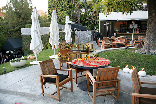 ATMOSPHERE.Travel + Leisure Magazine's 35th Birthday Party at W Hotel, Westwood, California, USA..April 19th, 2006.Photo: Byron Purvis/AdMedia/Capital Pictures.Ref: BP/ADM.table chair patio furniture.www.capitalpictures.com.sales@capitalpictures.com.© Capital Pictures.