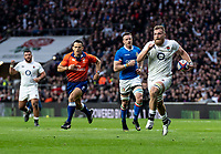 Brad Shields of England powers to the try line to score his first try during the Guinness Six Nations match between England and Italy at Twickenham Stadium on March 9th, 2019 in London, United Kingdom. Photo by Liam McAvoy.
