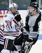 Mike Hewkin (NU - 28), Ian O'Connor (Providence - 26) - The Northeastern University Huskies defeated the Providence College Friars 3-1 (EN) on Tuesday, January 19, 2010, at Matthews Arena in Boston, Massachusetts.