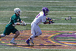 Albany's TD Ierlan (#3) was perfect on faceoff winds as UAlbany Lacrosse defeats Vermont 14-4  in the American East Conference Championship game at Casey Stadium, May 5.