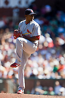 12 April 2008: #56 Kelvin Jimenez of the Cardinals pitches during the St. Louis Cardinals 8-7 victory over the San Francisco Giants at the AT&T Park in San Francisco, CA.