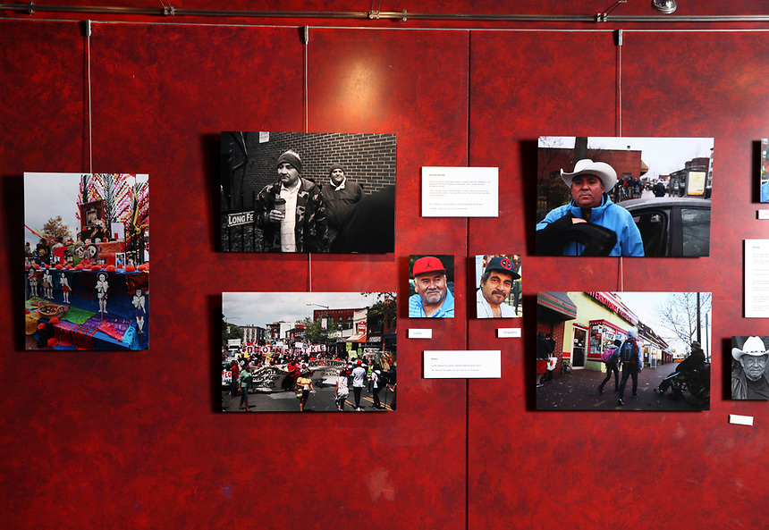 (180331RREI9579) La Esquina installation photographs, Gala Theatre Lobby,  La Esquina - The Corner exhibition at Gala Theatre. The documentary project La Esquina revolves around the history of the Latinos at the corner of Mt. Pleasant St. and Kenyon St. NW. Washington DC.  March 31, 2018 . ©  Rick Reinhard  2018     email   rick@rickreinhard.com