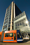 Exterior of the OHSU Center for Health and Healing with Portland Streetcar, South Waterfront Development, Oregon