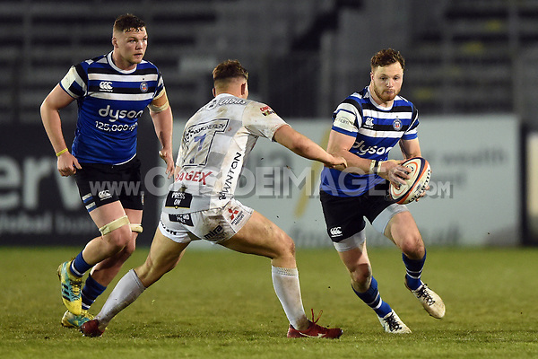 Max Wright of Bath United in possession. Premiership Rugby Shield match, between Bath United and Gloucester United on April 8, 2019 at the Recreation Ground in Bath, England. Photo by: Patrick Khachfe / Onside Images