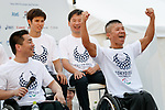 Japan's Paralympic athletes attend the 3 Years to Go! ceremony for the Tokyo 2020 Paralympic games at Urban Dock LaLaport Toyosu on August 25, 2017. The Games are set to start on August 25th 2020. (Photo by Rodrigo Reyes Marin/AFLO)