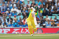 David Warner (Australia) drives on the walk and takes a quick single during India vs Australia, ICC World Cup Cricket at The Oval on 9th June 2019