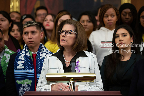 United States Senator Catherine Cortez Masto (Democrat of Nevada), joined by other Democratic lawmakers, speaks during a press conference on the Deferred Action for Childhood Arrivals program on Capitol Hill in Washington D.C., U.S. on Tuesday, November 12, 2019.  The Supreme Court is currently hearing a case that will determine the legality and future of the DACA program.  <br /> <br /> Credit: Stefani Reynolds / CNP