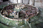 Model Salisbury cathedral and walled town, Wiltshire, England