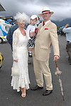 Raymond, Gilliaan and Shelagh-Jessica Gilbourne from Millstreet pictured at  the Dawn Dairies Queen of Fashion at Killarney races.<br />