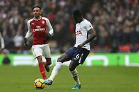 Pierre-Emerick Aubameyang of Arsenal and Davinson Sanchez of Tottenham Hotspur during Tottenham Hotspur vs Arsenal, Premier League Football at Wembley Stadium on 10th February 2018