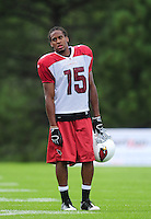Jul 31, 2009; Flagstaff, AZ, USA; Arizona Cardinals wide receiver (15) Steve Breaston during training camp on the campus of Northern Arizona University. Mandatory Credit: Mark J. Rebilas-