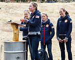 EAST MONTPELIER - USA Vermont Olympians speak at Morse Farm about the influence of climate change on winter sports they have experienced world wide and make suggestions on attacking the problem. Speaking, Hannah Dreissigacker,  L/R Ida Sargent, Liz Stephens, Susan Dunklee.