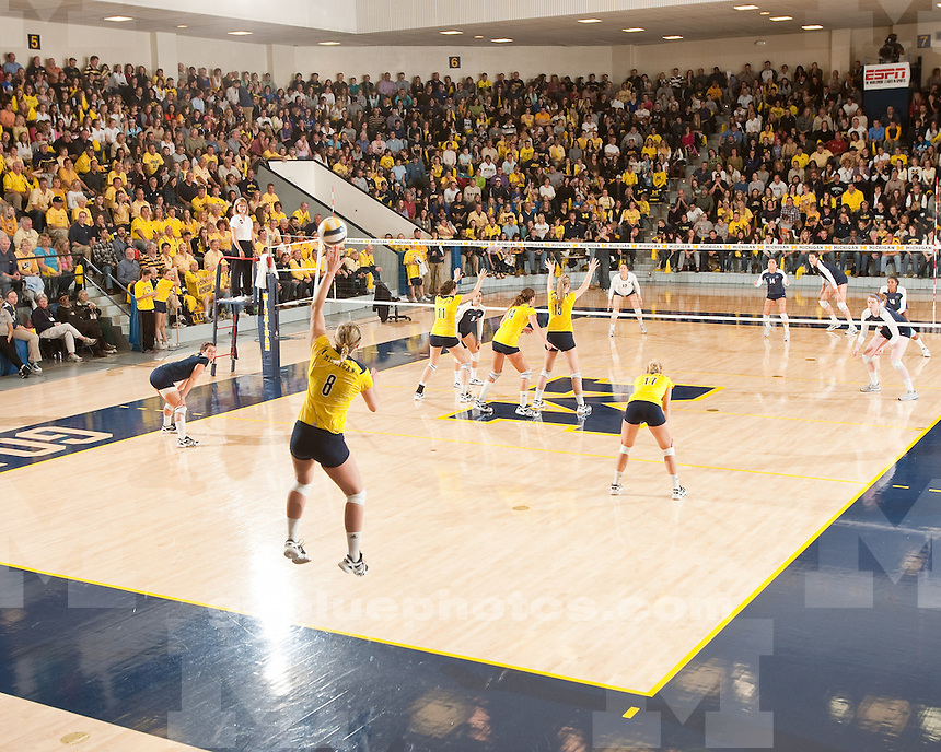 University of Michigan volleyball 3-0 loss to #9 Penn State University at Cliff Keen Arena in Ann Arbor, MI, on November 5, 2010.