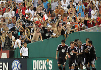 Fans of D.C. United cheers the goal by Andy Najar #14 during an MLS match against the Los Angeles Galaxy at RFK Stadium on July 18 2010, in Washington D.C. Galaxy won 2-1.