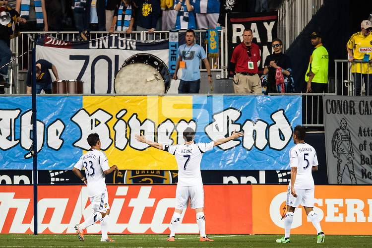Robbie Keane (7) of the Los Angeles Galaxy celebrates scoring. The Los Angeles Galaxy defeated the Philadelphia Union 4-1 during a Major League Soccer (MLS) match at PPL Park in Chester, PA, on May 15, 2013.