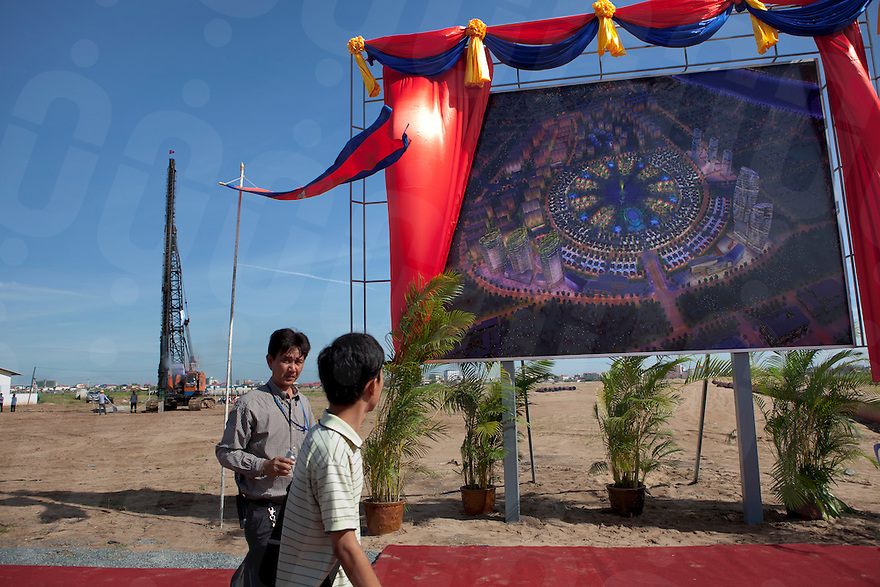 July 09, 2011 - Phnom Penh, Cambodia. Plans are unveiled and a symbolic foundation is put in the ground to inaugurate the development of Boeung Kak. © Nicolas Axelrod / Ruom