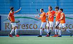 UTRECHT - Roel Bovendeert (Bldaal) heeft gescoord op aangeven van Sander 't Hart (Bldaal)   tijdens de hoofdklasse competitiewedstrijd mannen, Kampong-Bloemendaal (2-2) . ) . COPYRIGHT KOEN SUYK