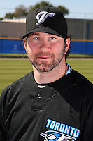 March 1, 2010:  Pitcher Shaun Marcum (28) of the Toronto Blue Jays poses for a photo during media day at Englebert Complex in Dunedin, FL.  Photo By Mike Janes/Four Seam Images