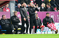 Lincoln City manager Danny Cowley, left and Nicky Cowley in the technical area<br /> <br /> Photographer Andrew Vaughan/CameraSport<br /> <br /> The EFL Sky Bet League Two - Lincoln City v Mansfield Town - Saturday 24th November 2018 - Sincil Bank - Lincoln<br /> <br /> World Copyright &copy; 2018 CameraSport. All rights reserved. 43 Linden Ave. Countesthorpe. Leicester. England. LE8 5PG - Tel: +44 (0) 116 277 4147 - admin@camerasport.com - www.camerasport.com