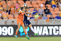 Houston, TX - Saturday July 15, 2017: Amber Brooks and Kristie Mewis during a regular season National Women's Soccer League (NWSL) match between the Houston Dash and the Washington Spirit at BBVA Compass Stadium.