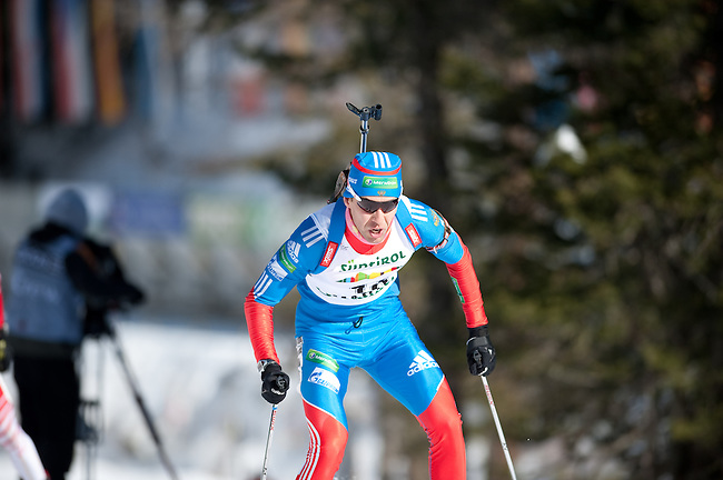 MARTELL-VAL MARTELLO, ITALY - FEBRUARY 03: MAKOVEEV Andrei (RUS) during the Men 12.5 km Pursuit at the IBU Cup Biathlon 6 on February 03, 2013 in Martell-Val Martello, Italy. (Photo by Dirk Markgraf)