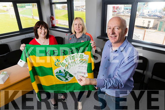 Breda O'Callaghan and Kate O'Carroll Kerry GAA with County Secretary Peter Twiss with All Ireland Senior Football Tickets for 2019
