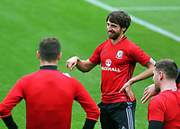 Joe Allen (C) speaks to team mates during the Wales Training Session at the Vale Resort, Hensol, Wales, UK. Tuesday 29 August 2017