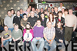 Tralee man Joe O'Brien,Spa Rd(seated 3rd Rt)celebrated his 40th birthday in Kirby's Brogue in the town last Friday night with his wife Eleanor,son Luke and many friends and family.086 3748397.