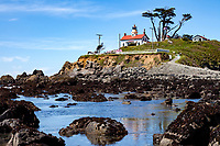 Battery Point Lighthouse which sits outside the Crescent City harbor along the Northern california coast. On December 10, 1856 the lighthouses original fourth order Fresnal lens first illuminated the night sky an remained active until the lighthouse was automated in 1953 and its original lens replaced by a modern 375 mm lens. Access to the onsite museum and lighthouse is accessible only at low tide across an exposed land bridge.