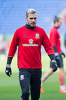 Aaron Ramsey during a Wales Training Session at Cardiff City Stadium ahead of the FIFA World Cup Qualification match against Serbia, Cardiff, Wales on 11 November 2016. Photo by Mark  Hawkins.