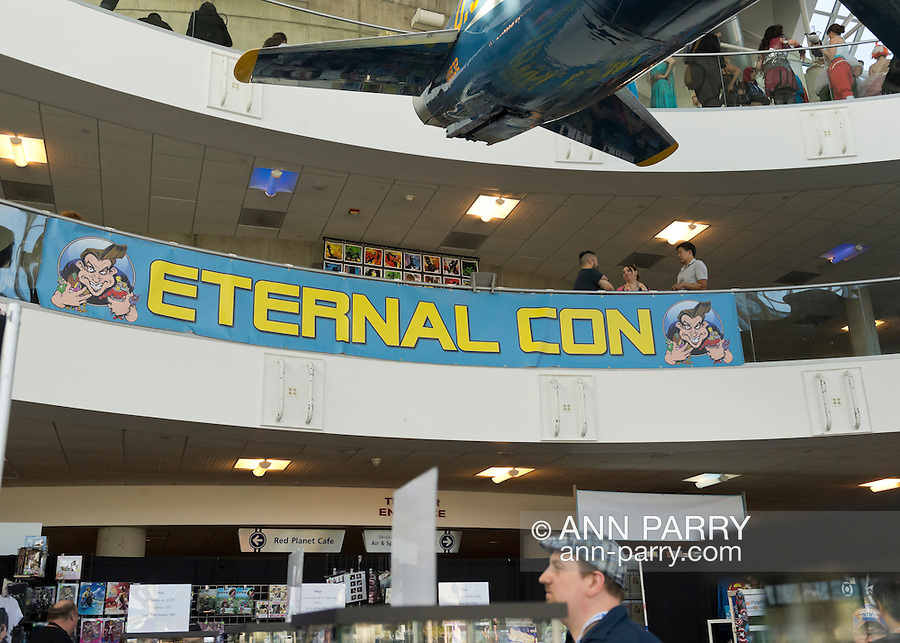 Garden City, New York, U.S. - June 14, 2014 -   at Eternal Con, the annual Pop Culture Expo, with costumes, Comic Books, Collectibles, Gaming, Sci-Fi, Cosplay, Horror, and held at the Cradle of Aviation Museum on Long Island.