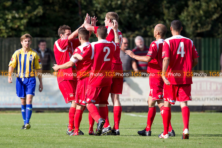 Sam Newson is congratulated by Needham team mates after he doubled the home sides advantage - Needham Market vs Romford - Ryman League Division One North Football at Bloomfields, Needham Market, Suffolk - 22/09/12 - MANDATORY CREDIT: Ray Lawrence/TGSPHOTO - Self billing applies where appropriate - 0845 094 6026 - contact@tgsphoto.co.uk - NO UNPAID USE.