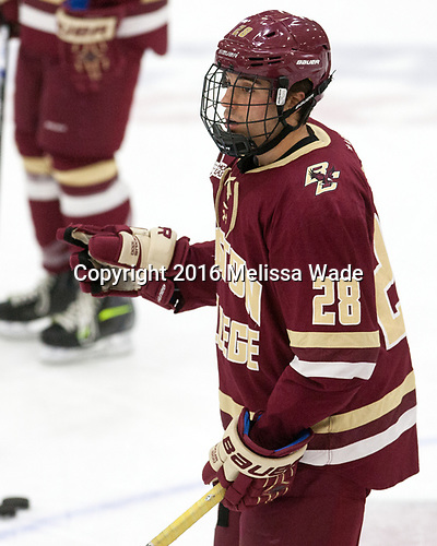 Ron Greco (BC - 28) - The Harvard University Crimson defeated the visiting Boston College Eagles 5-2 on Friday, November 18, 2016, at the Bright-Landry Hockey Center in Boston, Massachusetts.