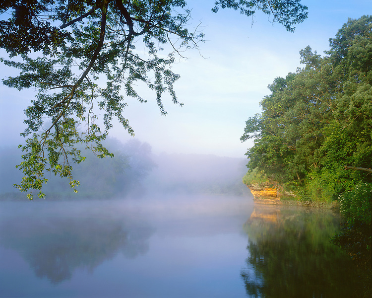 Foggy sunrise on the Rock River; Castle Rock State Park, IL