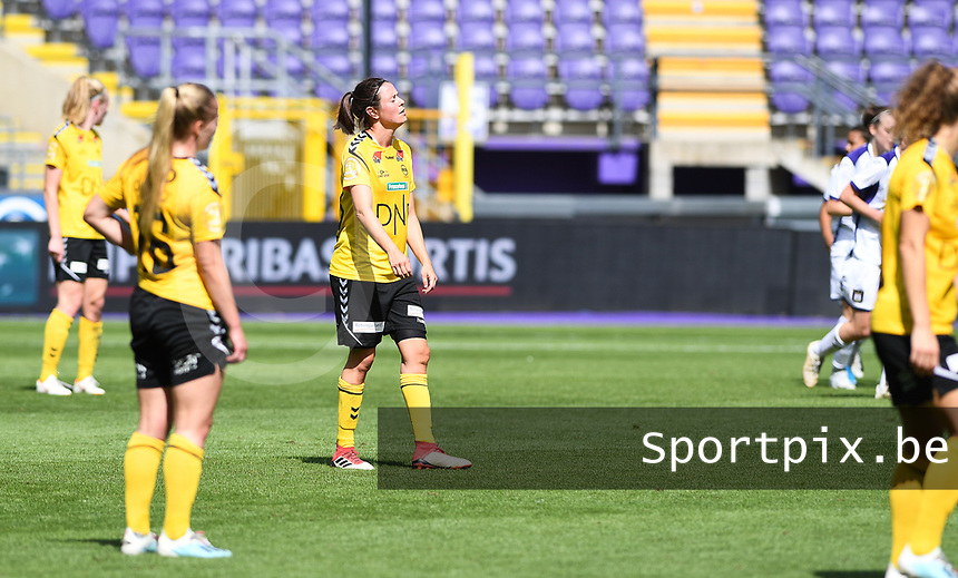 20190810 - ANDERLECHT, BELGIUM : LSK's Isabelle Bachor pictured looking dejected and disappointed after losing the female soccer game between the Belgian RSCA Ladies – Royal Sporting Club Anderlecht Dames  and the Norwegian LSK Kvinner Fotballklubb ladies , the second game for both teams in the Uefa Womens Champions League Qualifying round in group 8 , saturday 10 th August 2019 at the Lotto Park Stadium in Anderlecht  , Belgium  .  PHOTO SPORTPIX.BE for NTB NO | DAVID CATRY