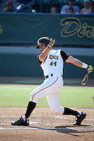 Luke Rasmussen (44) of the Long Beach State Dirtbags bats against the Arizona State Sun Devils at Blair Field on February 27, 2016 in Long Beach, California. Long Beach State defeated Arizona State, 5-2. (Larry Goren/Four Seam Images)