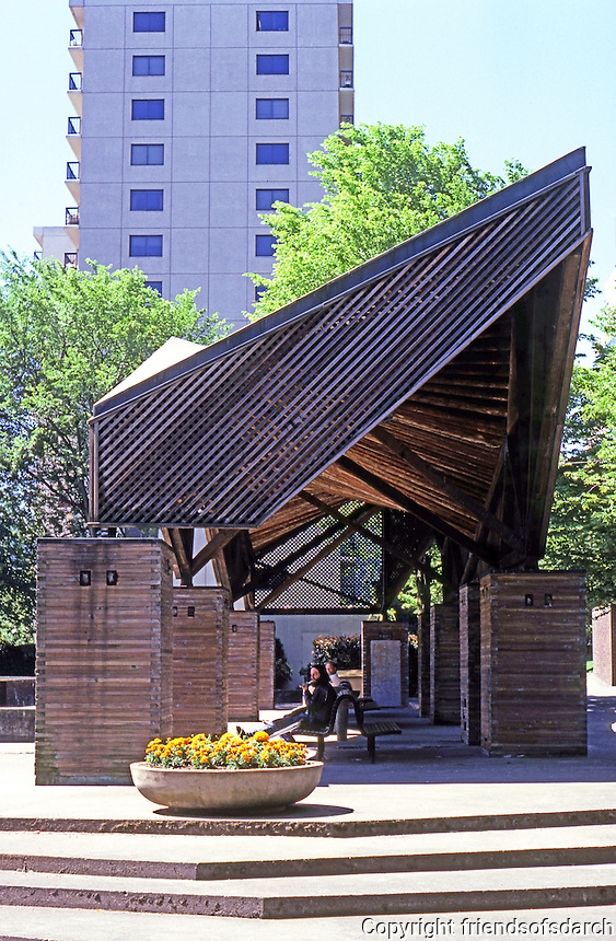 Portland: Lovejoy Fountain Pavilion. Designed by Charles Willard Moore. Copper clad exterior. Photo '86.