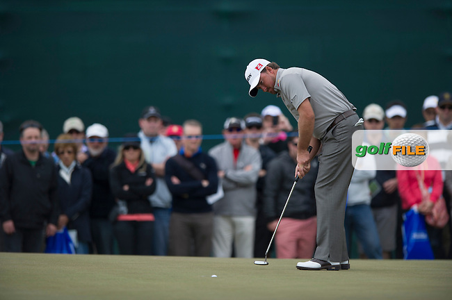 Graeme McDowell nails his putt on the 18th at Kingston Heath during the third round of the Australian Masters in Melbourne (Photo: Anthony Powter) www.golffile.ie