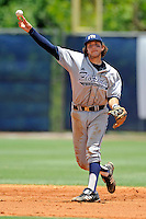 22 May 2010:  FIU's Garrett Wittels (10) throws to first as the Florida Atlantic University Owls defeated the FIU Golden Panthers, 14-10, at FAU Stadium in Boca Raton, Florida.  With his double in the third inning, Wittels surpassed Wichita State's Phil Stephenson (47 straight games, 1981), to become the second-longest hitting streak in Division I history, and pulling within 10 games of Oklahoma State's Robin Ventura, who holds the NCAA record with a 58-game hitting streak in 1987.