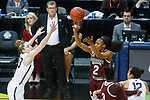 DALLAS, TX - MARCH 31: Morgan William #2 of the Mississippi State Lady Bulldogs attempts a jump shot over Katie Lou Samuelson #33 of the Connecticut Huskies during the 2017 Women's Final Four at American Airlines Center on March 31, 2017 in Dallas, Texas. (Photo by Tim Nwachukwu/NCAA Photos via Getty Images)
