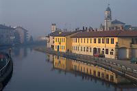 - view of Gaggiano village (Milan) on Naviglio Grande canal<br /> <br /> - veduta del paese Gaggiano (Milano) sul Naviglio Grande