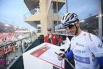 Julian Alaphilippe (FRA) Quick-Step Floors at sign on before the the start of Stage 4 Yas Island Stage of the 2017 Abu Dhabi Tour, 143km with 26 laps of 5.5km of the Yas Marina Circuit, Abu Dhabi. 26th February 2017.<br /> Picture: ANSA/Claudio Peri | Newsfile<br /> <br /> <br /> All photos usage must carry mandatory copyright credit (&copy; Newsfile | ANSA)