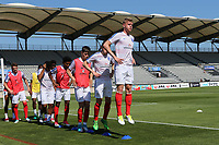 Joe Worrall of England warms up pre-match during England Under-18 vs Scotland Under-20, Toulon Tournament Semi-Final Football at Stade Parsemain on 8th June 2017