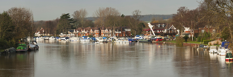 River Thames at Bourne End from the railway bridge, Buckinghamshire, Uk